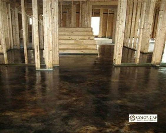 Stains concrete floors and stained concrete on pinterest for Black stains on concrete