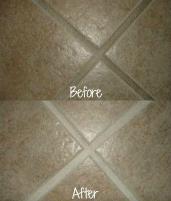 Before and after of grout, cleaned with a Magic Eraser {plus even more ways to use one on Stain Removal 101}