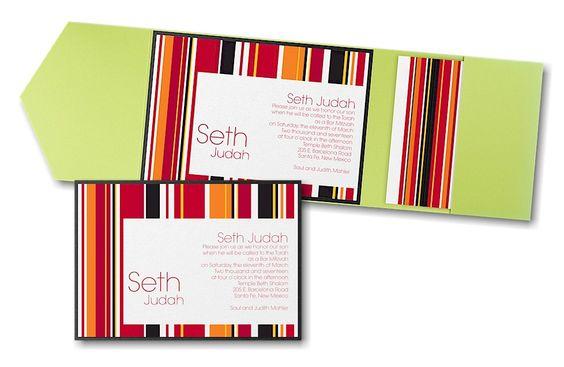 Sensational Stripes in Mango Pocket Bar Mitzvah Invitation