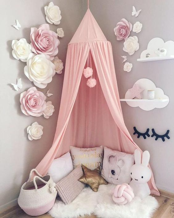 Blush Pink Nursery Paper Flowers Wall Decor Baby Girl Room | Etsy
