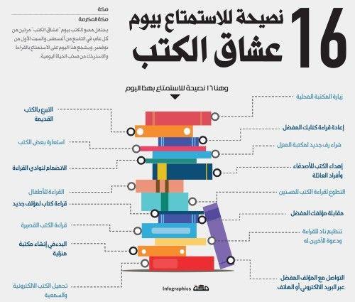 انفوجرافيك 16 نصيحة للاستمتاع بيوم عشاق الكتب Life Skills Learning Arabic Teach Arabic