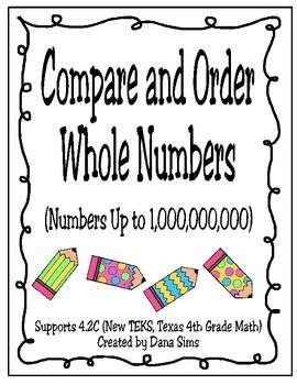 Compare and Order Whole Numbers Up to 1,000,000,000 (4th G | Math ...