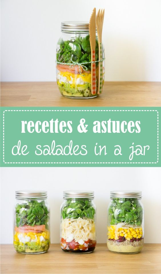 salade in a jar mason jar bocal astuces et recettes sur la godiche mes. Black Bedroom Furniture Sets. Home Design Ideas