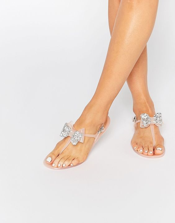 Cutest pool jellies I ever did see ::  Miss KG Daisy Nude Bow Detail Jelly Sandals