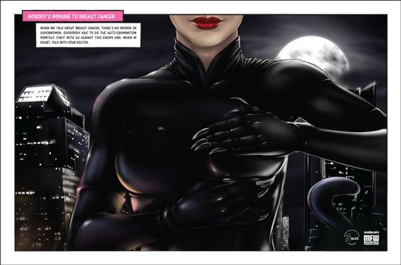lol. Superheroines Give Self Exams In Breast Cancer Awareness Campaign