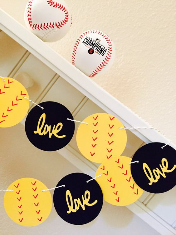 Softball Love Garland Love Softball Banner by girlygifts07 on Etsy