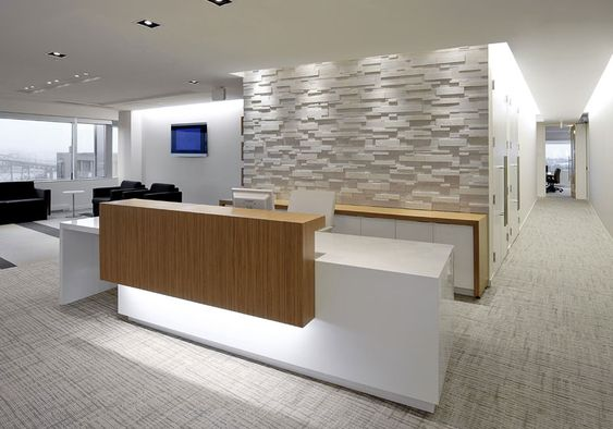this elegant reception desk with the white wall background and natural wood desk element could be an inspiration for your salon reception desk bridge reception counter office line