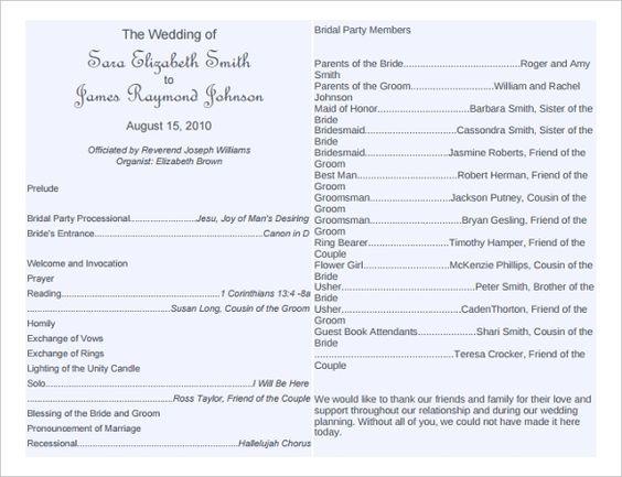 free wedding program word templates Wedding Bulletin Templates - free word templates 2010