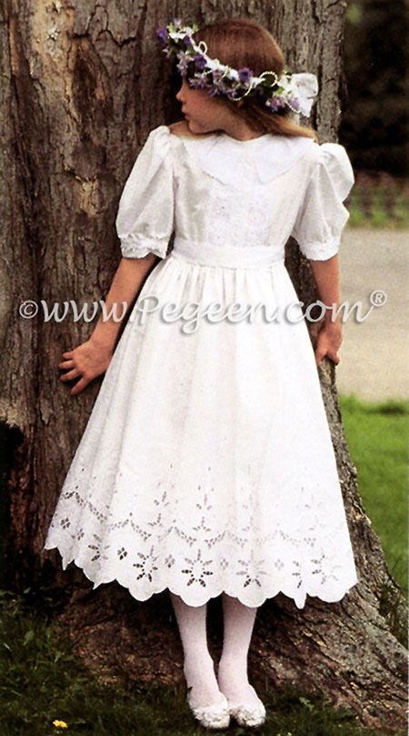 From Pegeen Classics - Girls Flower Girl Dresses with battenburg cut out lace