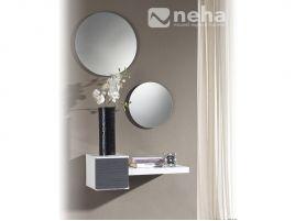 Meuble d'entrée suspendu design avec miroir gris cendré