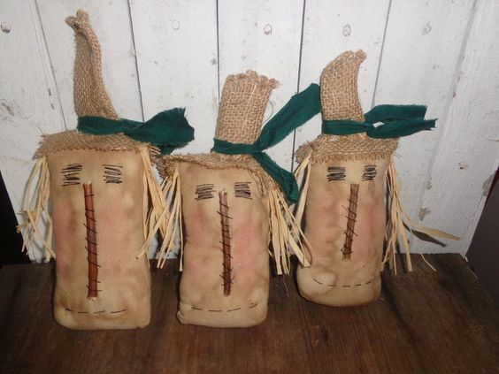 3 Extreme Primitive Grungy Primitive Scarecrow Ornies Bowl Fillers Tuck Handmade #NaivePrimitive #Handmade
