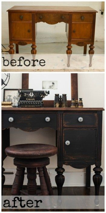 How to use black chalk paint this old desk was given a for Black chalk paint dresser