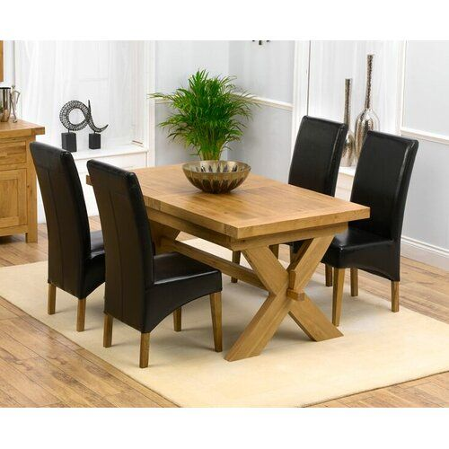 Rochelle Extendable Dining Set With 4 Chairs Home Etc Upholstery Colour Black Solid Oak Dining Table Oak Dining Sets Oak Dining Room