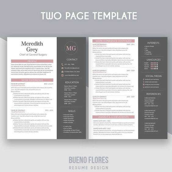 Resume Template  - reference page for a resume