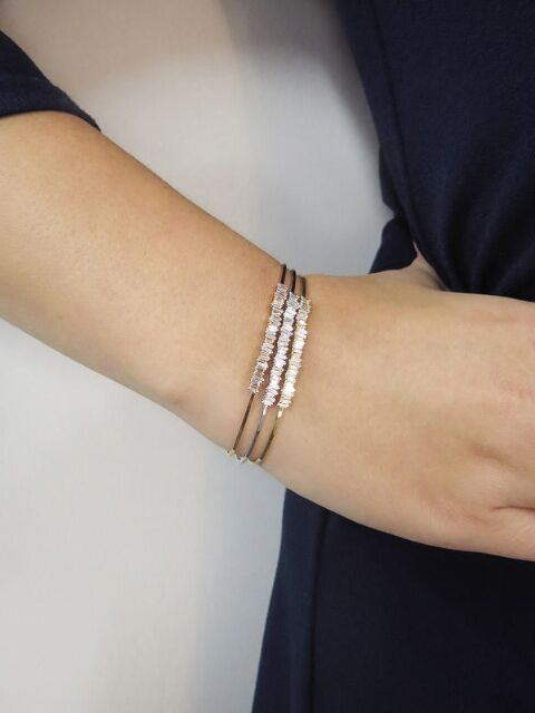 Suzanne Kalan Half Baguette Diamond Bangle Bracelet White Gold Handcrafted In Diamond Bangle Bracelet White Gold Diamond Bangles Bracelet Diamond Bangle