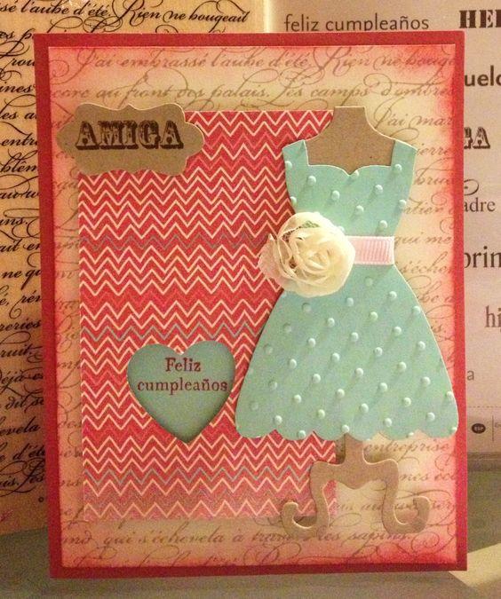 Tarjeta hecha a mano de trajecito Feliz Cumpleaños Amiga Handmade Happy Birthday Friend Little