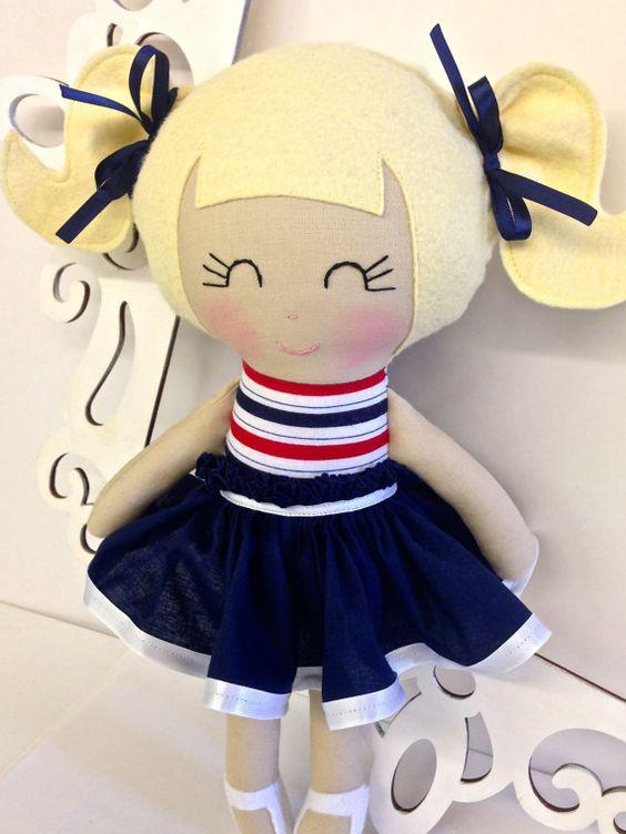 Rag Dolls Nautical, Handmade Doll, Fabric Doll, Cloth Doll, Girl Gift, Handmade baby doll, Homemade doll, soft fabric doll on Etsy, $50.00