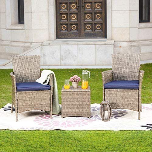 Lokatse Home 3 Piece Patio Bistro Set For Porch Outdoor Furniture Pe Rattan Wicker Conversation Chair Conversation Set Patio Outdoor Patio Chairs Blue Cushions