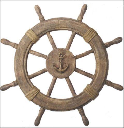 22 Inch Wood Ship's Wheel w Anchor Centerpiece