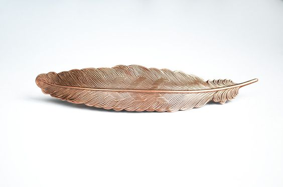 Copper Feather Barrette Large Antiqued Copper Hair Piece by paperfacestudio on Etsy