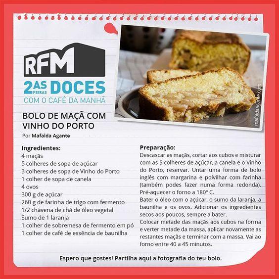 Nova receita @rfmportugal Este bolo fica delicioso! :) #rfmportugal #rfm #recipe #receita #segundasfeirasdoces #cake #bolo #applecake #maçã #dessert #sobremesa #blogger #blog #portugal #food