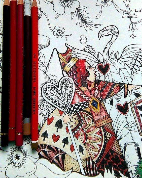 """Bad Queen ❤ #colortherapyapp #coloring #color #coloringbook  #koloruję #kolorowamafia #adultcoloring #colors #coloredpencil #fabercastell #Derwent…"""