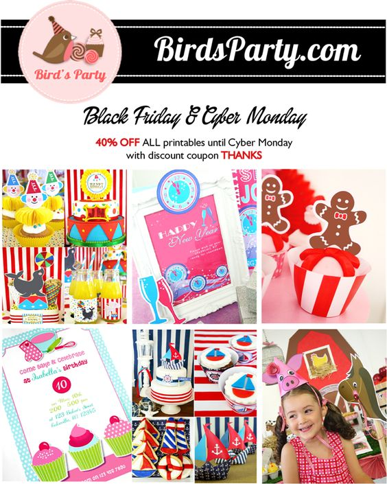 Black Friday Sale: -40% on ALL Party Printables in Store with this Exclusive Code !! by Bird's Party