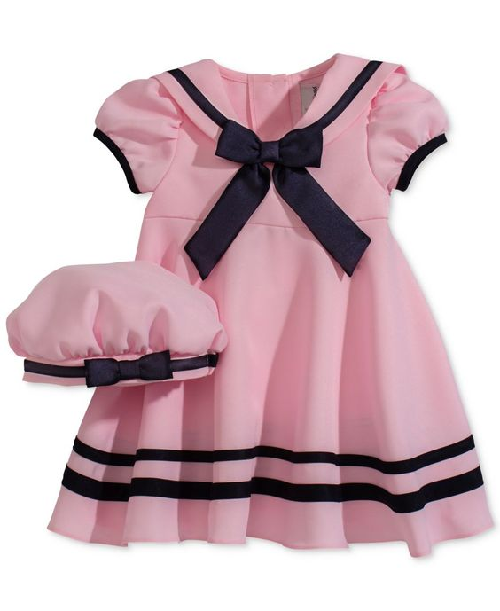 Rare Editions Baby Girls&-39- Pink Short-Sleeve Sailor Dress &amp- Hat ...