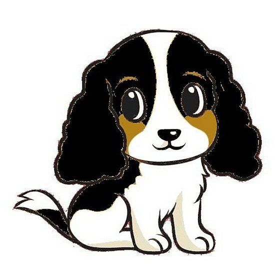 English Springer Spaniel Black White And Tan Cartoon Black And White Cartoon English Springer Spaniel Springer Spaniel