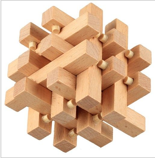 Intelligence KongMing Luban Locks China Ancestral Locks Kids Traditional 3D Wooden Brain Teaser IQ Puzzle Educational Game Toy