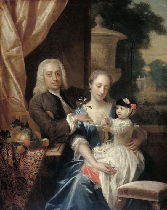 https://flic.kr/p/qGDNna | van Dijk, Philip - Isaac Parker, zijn echtgenote Justina Johanna Ramskrammer en hun zoontje Willem Alexander, 1742: