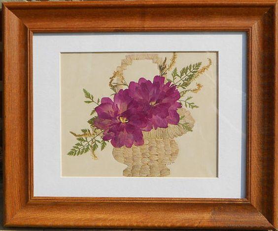 Peony Flower Basket Pressed Flower Picture by prettypressedpetals, $45.00