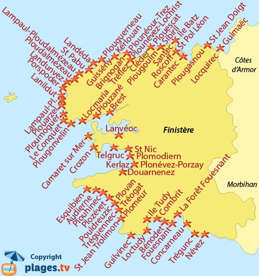 Map Of Finistere Seaside Resorts In Brittany Avec Images Carte