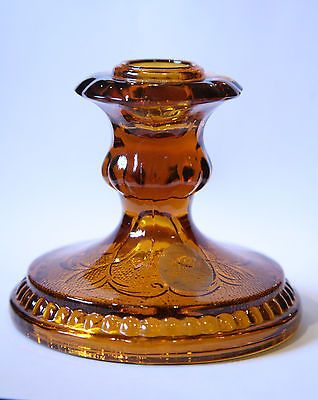 VTG Indiana Glass Co Tiara Exclusive Amber Candlestick Candle Holder vintage NEW