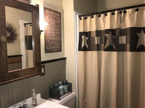 Primitive Star Shower Curtain In 2020 Primitive Bathrooms Primitive Shower Curtains Primitive Decorating Country