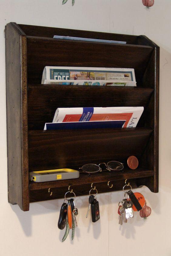 Mail letter rack handcrafted wood organizer key holder sorter wall or desk jacobean or other - Key and letter rack ...