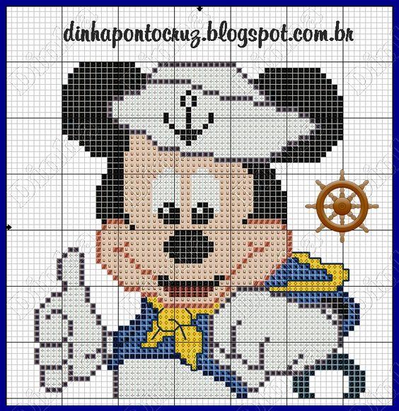 Dinha Ponto Cruz: Mickey Marinheiro em ponto cruz