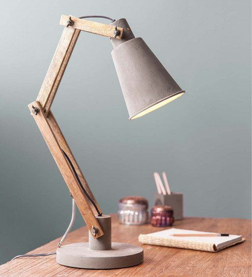 Thurmond Cement And Wood 30 Desk Lamp In 2020 Houten Lamp