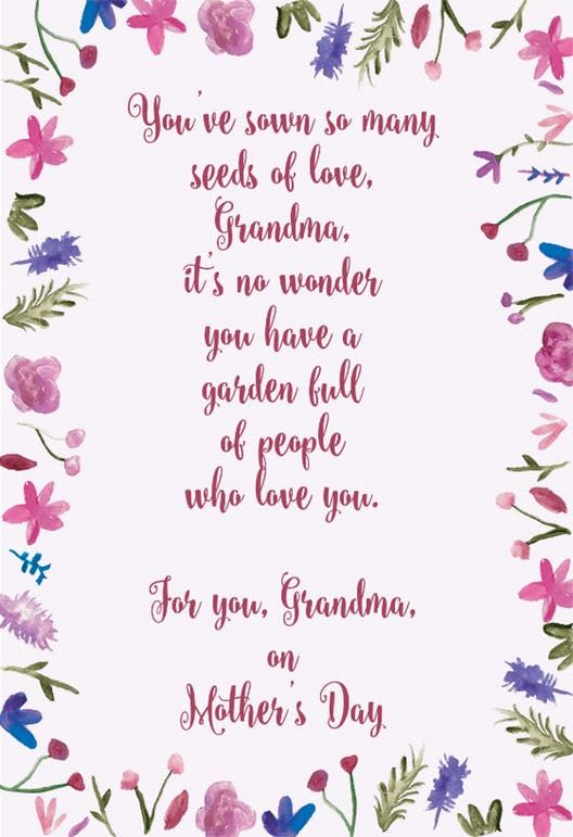 Grandma Seeds Of Love Mother S Day Card Free Greetings Island Mothers Day Cards Mothers Day Card Template Free Printable Birthday Cards