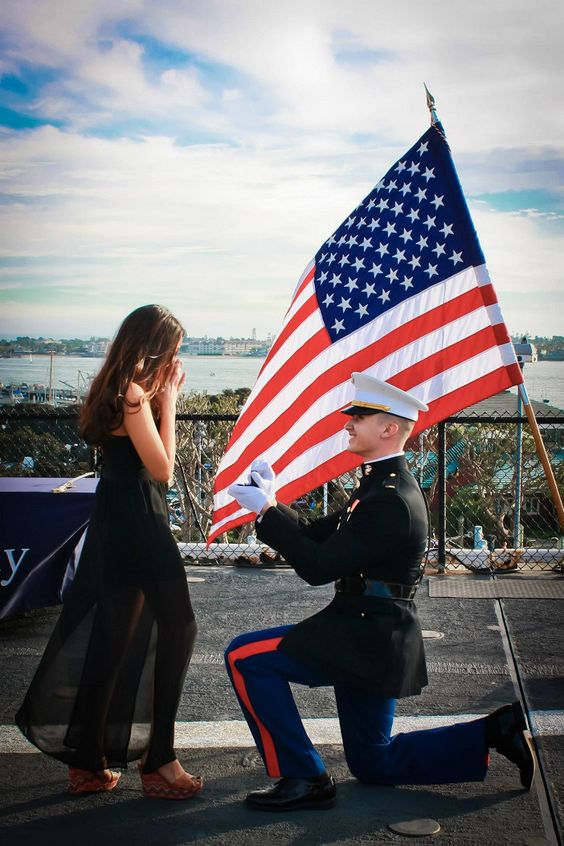 This marine asked his high school sweetheart to marry him at his commissioning ceremony!