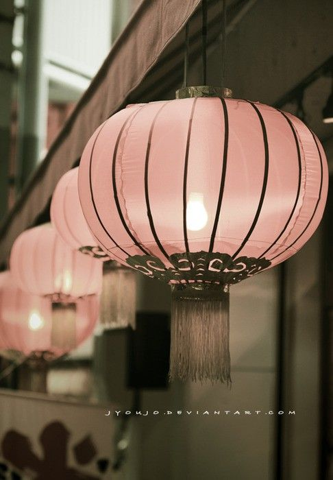 Exquisite pale, pink, asian lamps!