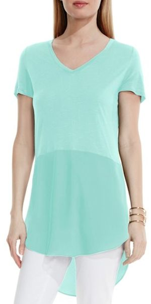 draped tunic in teal
