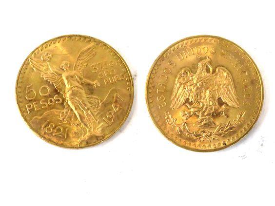 Une pièce de 50 pesos en or 1821 et 1947 «37,5 gr   oro puro»