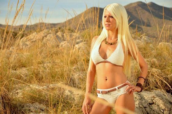 Beige high waisted bikini, cowboy style bikini, hot swimsuit, big breast swimsuit, hot swimsuit, two pieces bikini, beach clothing