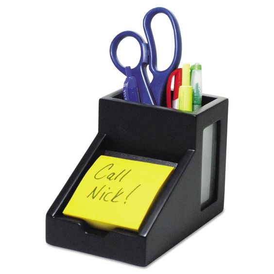 Victor Black Collection Pencil Cup with Note Holder 4 x 6 3/10 x 4 1/2 Wood