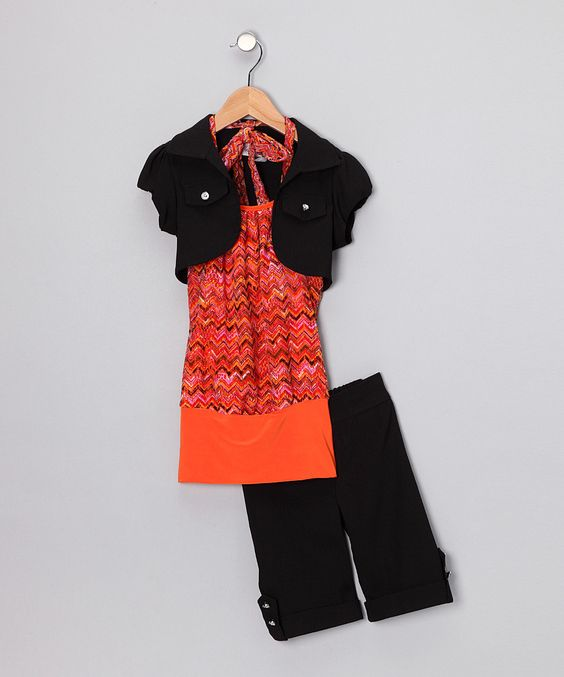 Another great find on #zulily! Orange Zigzag Shorts Set - Toddler & Girls by Citlali's Choice #zulilyfinds. $24.99, 2-12