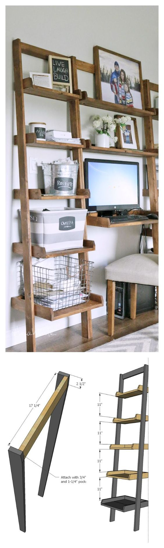 diy shelf- leaning ladder wall bookshelf made from 1x boards desk plans too: