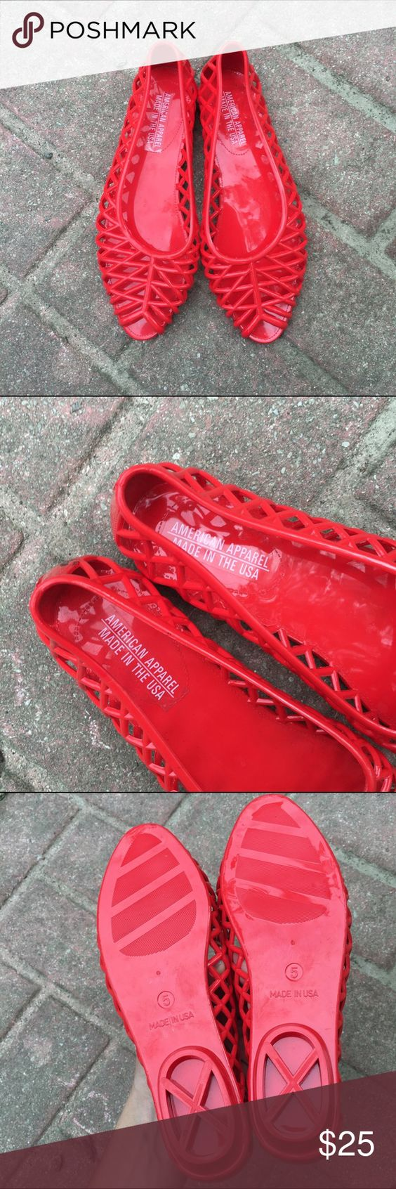 NEW American Apparel Jelly Flats Literally brand new just took the tags off. Size 5 from American Apparel. Super cute, red jelly flats. Perfect summer shoe!! American Apparel Shoes Flats & Loafers