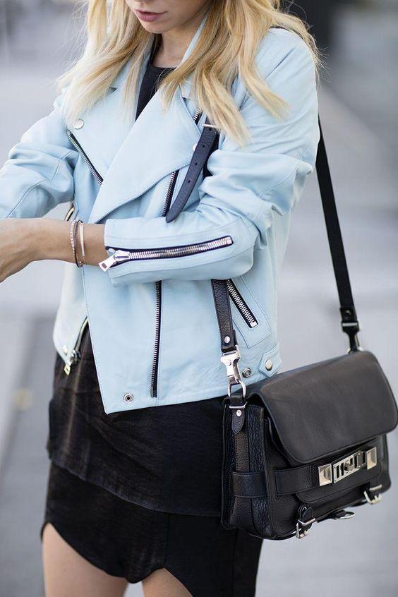 powder blue leather jacket.   style i heart.   Pinterest   Powder ...