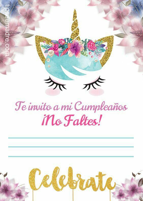 Tarjeta De Unicornio Para Cumpleaños Fiesta De